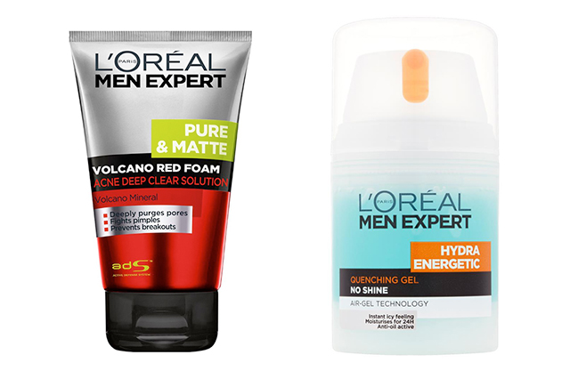 Loreal Paris Men Volcano Red Foam Acne Deep Cleanser Solution And Hydra Energetic Enriching Gel Quench Max