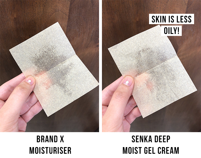 Senka Deep Moist Gel Cream Greasiness Test Blotting Paper Results