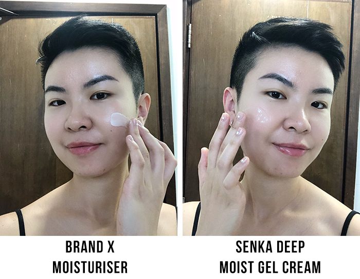 Senka Deep Moist Gel Cream Greasiness Test