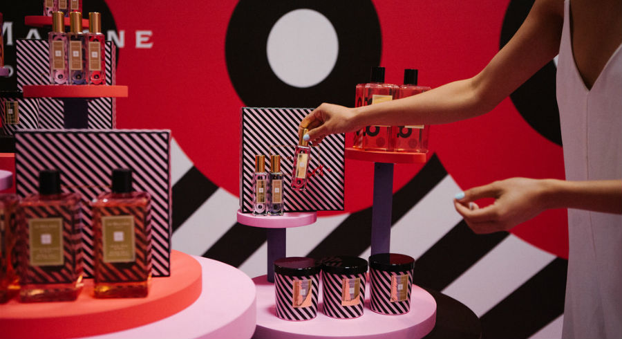 You can get a turn at the surprise egg machine when you shop for Jo Malone's exclusive Queen of Pop collection