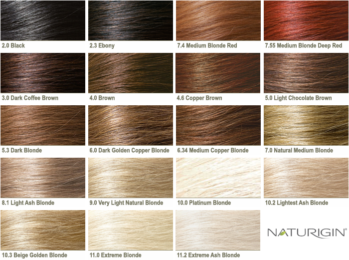Organic Hair Colour Singapore Naturigin Color Chart