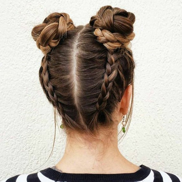 Hair Styles That Keep Hair Out Of Face Double Braided Buns