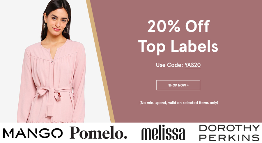 Enjoy 20% off top labels on Zalora! (No min. spend)