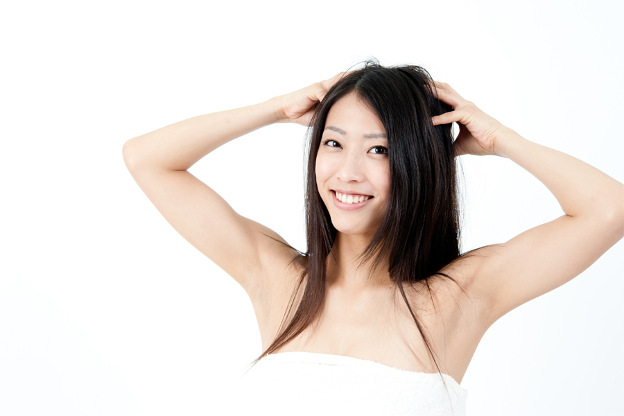 Attractive Asian Woman With Black Long Hair
