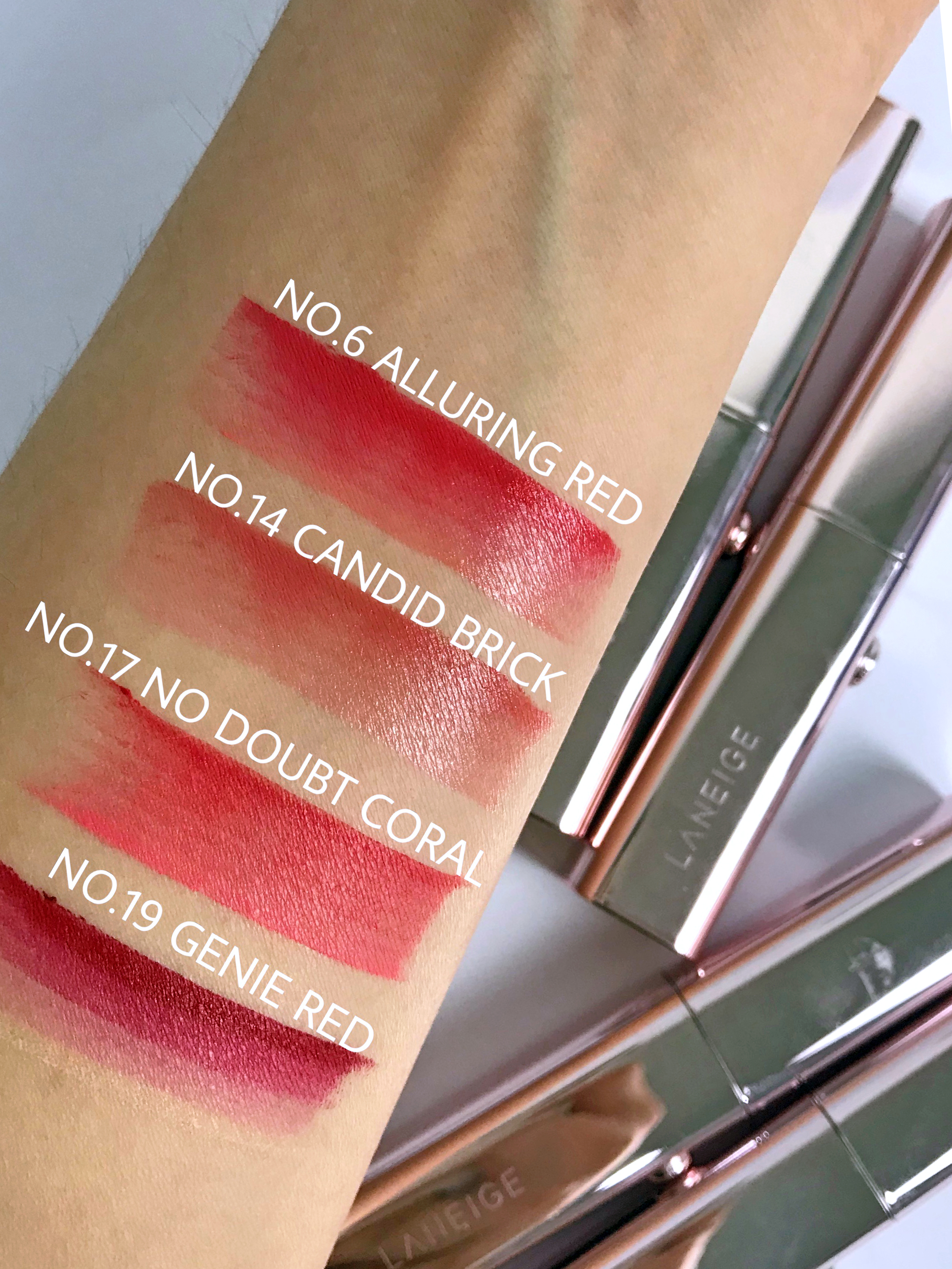Laneige Layering Lip Bar Swatches