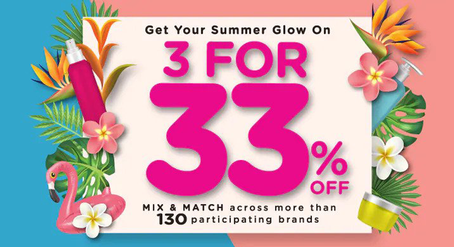Get 3 for 33% off when you mix and match products from over 130 brands at Watsons!