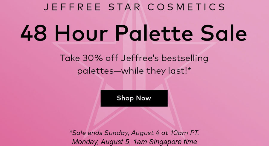 Jeffree Star Cosmetics palettes are going at 30% off and the sale is ending soon