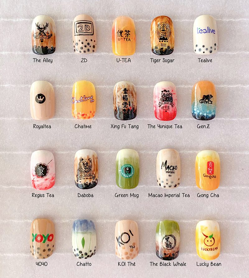 Bubble Tea Nail Art Design