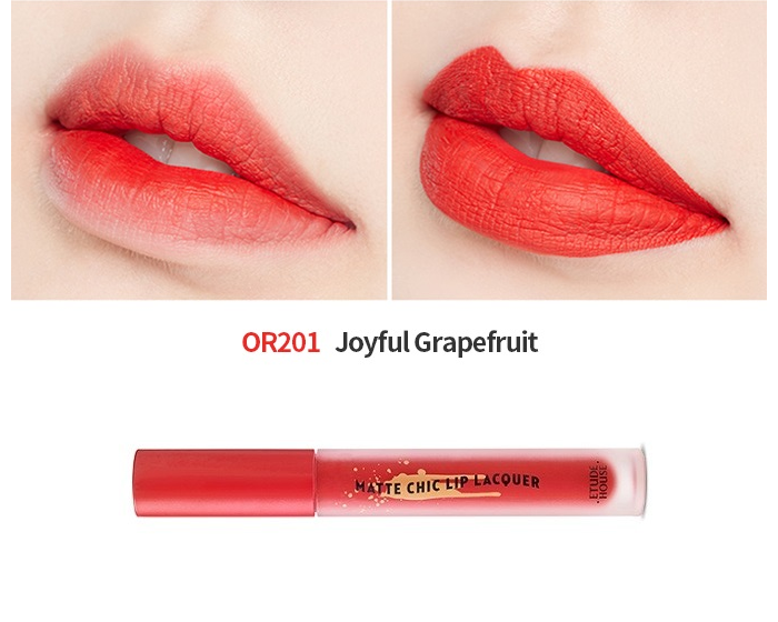 Etude House Matte Chic Lip Lacquer In Joyful Grapefruit