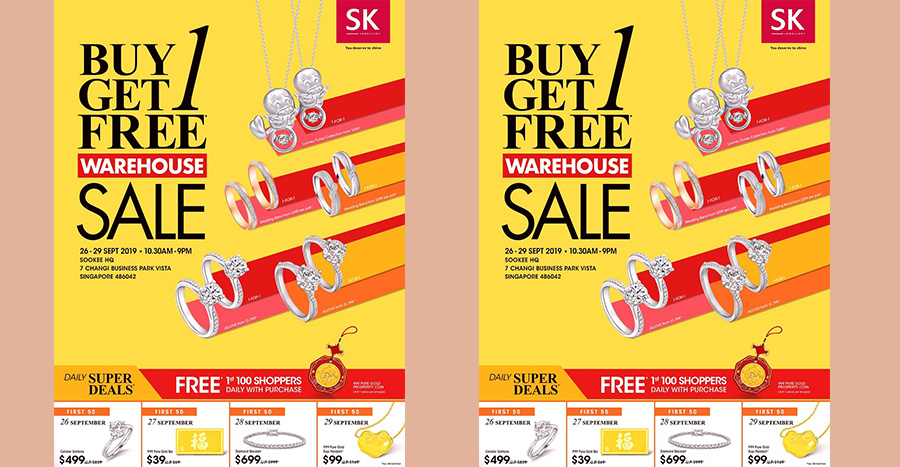 SK Jewellery Buy 1 Get 1 FREE at Warehouse Sale!