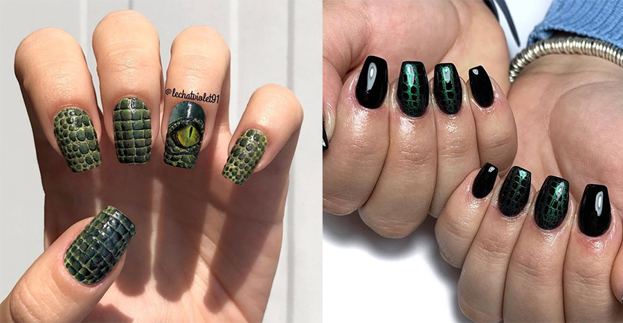 Croc skin nails are trending and you should get it at your next manicure
