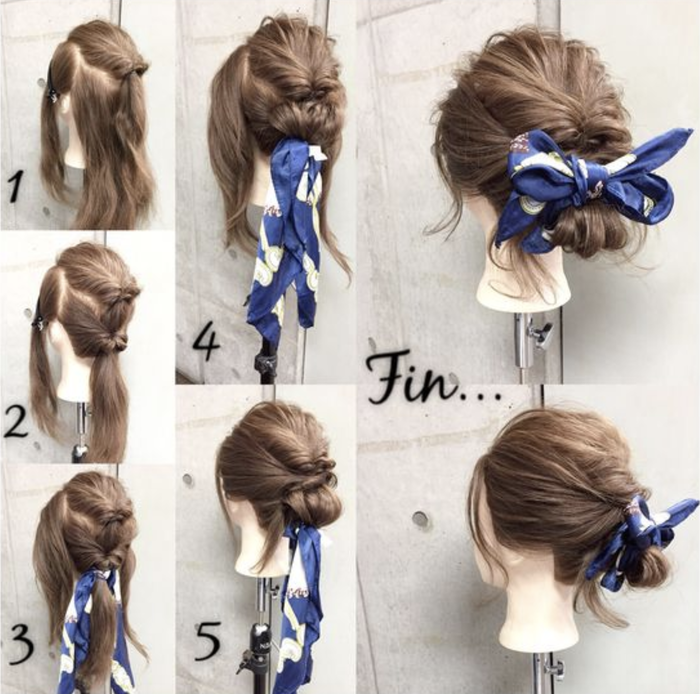 Bun Hairsyles Bandana Tutorial Three
