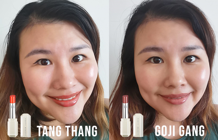 Fenty Beauty Slip Shine Sheer Shiny Lipstick Review Tang Thang Goji Gang 1