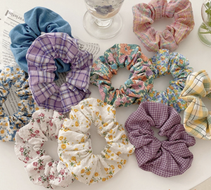 Bun Hairstyles Floral And Lattice Patterned Scrunchie