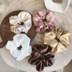 Bun Hairstyles Neutral Satin Plain Scrunchie