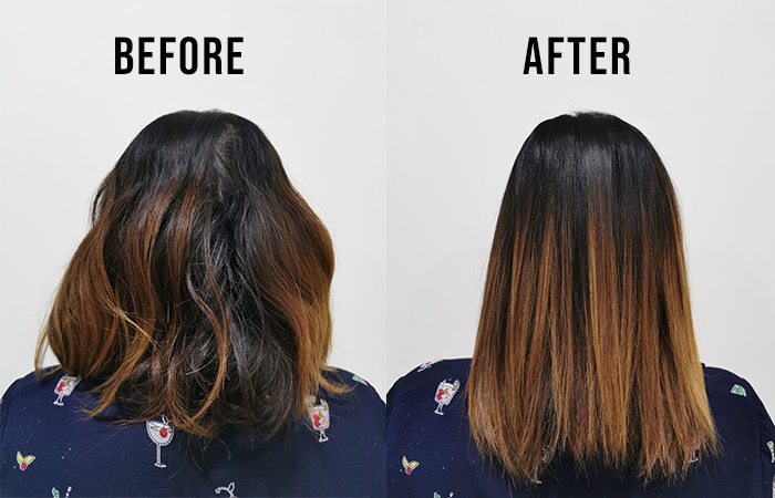 Dyson Corrale Review Before And After Straightening Back Shot