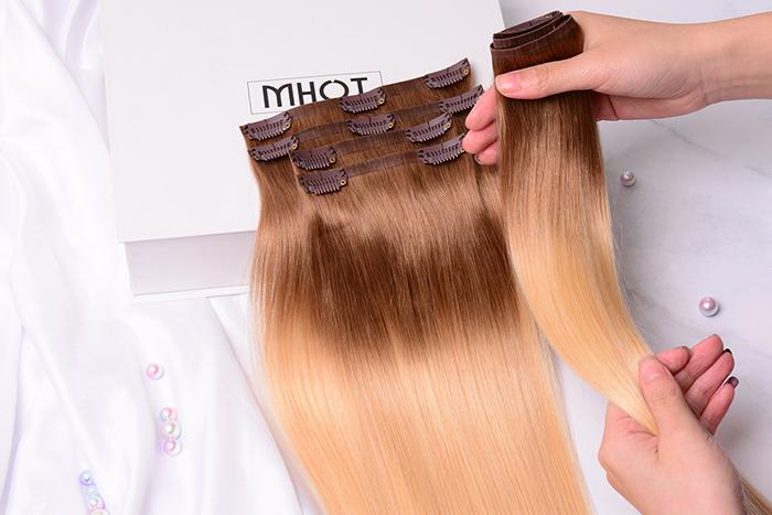 Mhot Clip In Hair Extensions Brunette Blonde