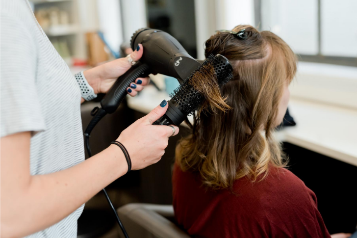 Woman Getting Blowdry In Salon