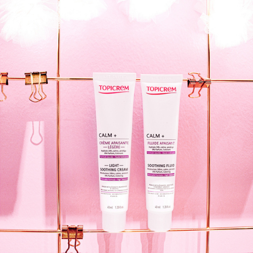 Topicrem Calm Plus Moisturisers Pink Background