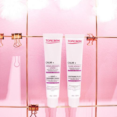 Topicrem Calm Plus Moisturisers Pink Background