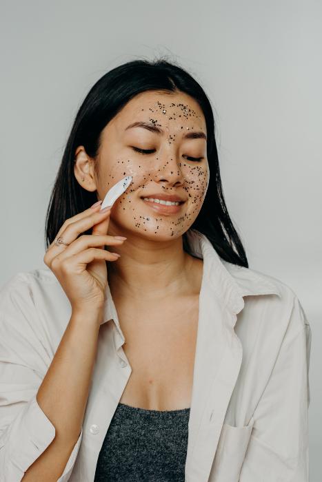 Asian Woman Applying Face Scrub Mask On Skin Polina Kovaleva Pexels