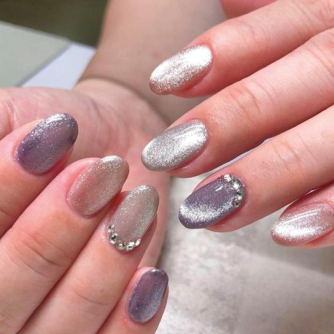 Velvet Nails (purple Silver)