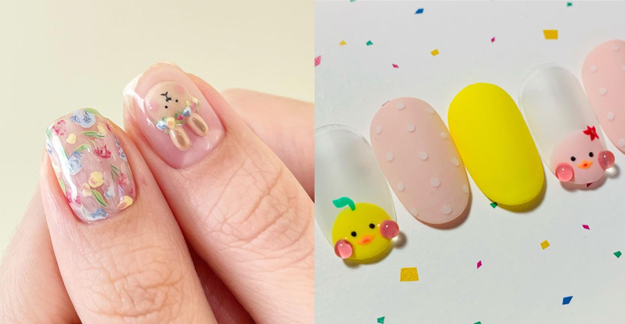 Cute hand-painted 3D animals are trending and these nail designs will cheer you up