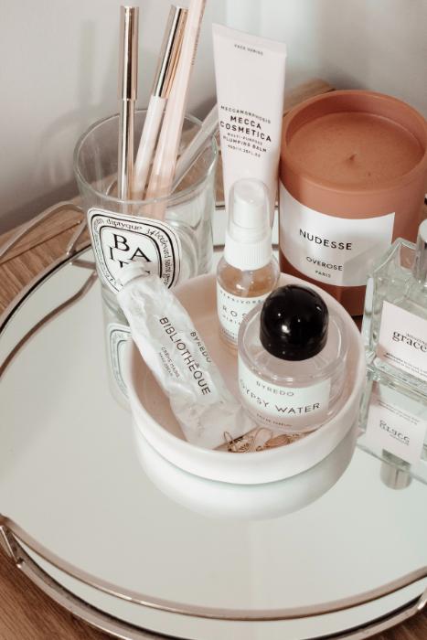 vanity bedside table fragrance candle makeup skincare source jess harper sunday pexels