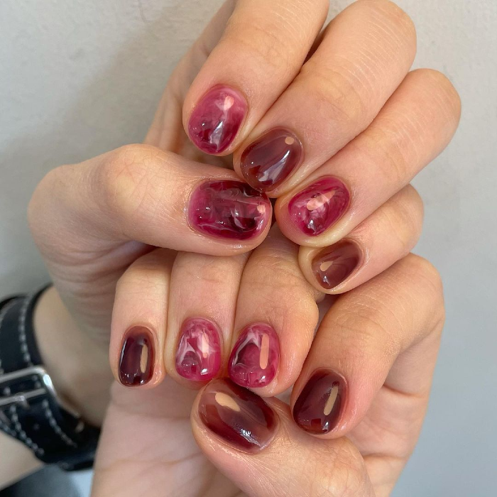 korean smudged gradient nail solid 4