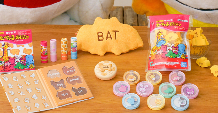 Japanese snack brand Tabekko has launched a cute makeup collection with sponges that look just like the biscuits