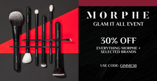 Enjoy 30% OFF Morphe, Dragun Beauty, and more in this Glam It All Sale!