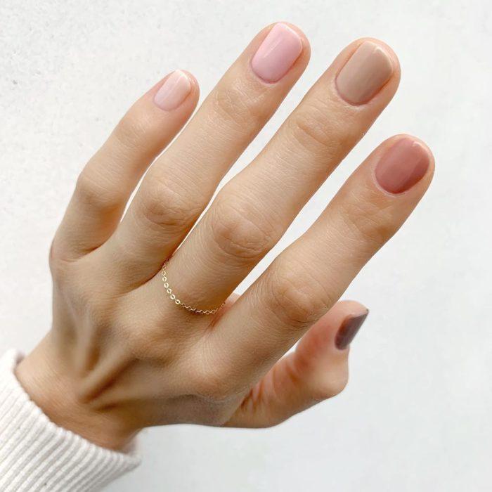 rainbow nails neutrals