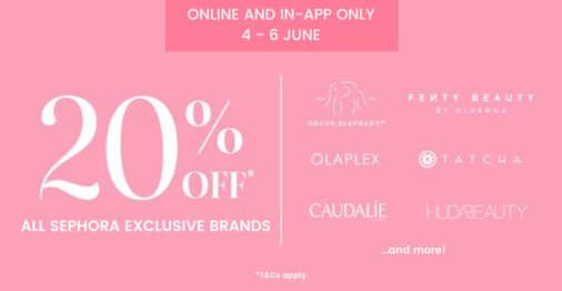 This weekend, take 20% OFF Drunk Elephant, Glow Recipe, Tatcha and many more on Sephora!