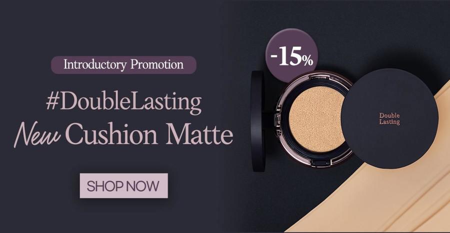 Shop ETUDE's launch promo: 15% off the NEW Double Lasting Cushion Matte