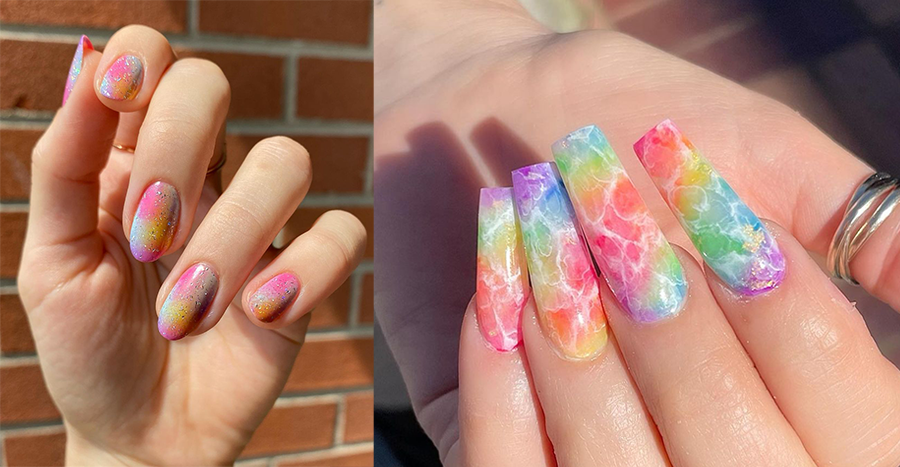 The tie-dye trend from the '70s is back as a nail art in 2021 – here are some looks to try
