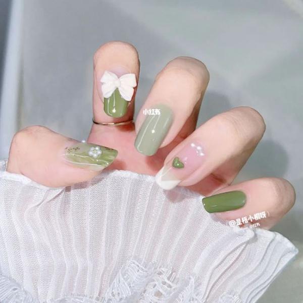 matcha green tea nails xhs 1