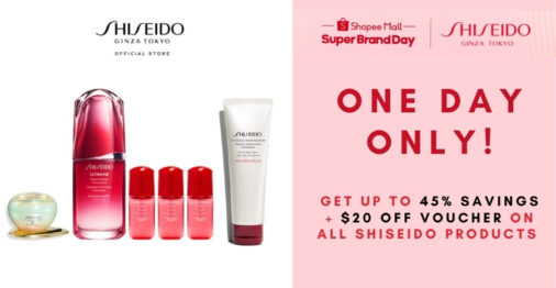One day only: enjoy 45% savings at Shiseido Super Brand Day Sale