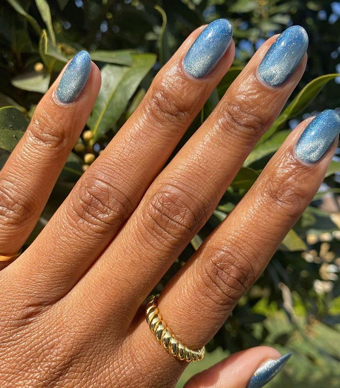 velvet nails blue silver